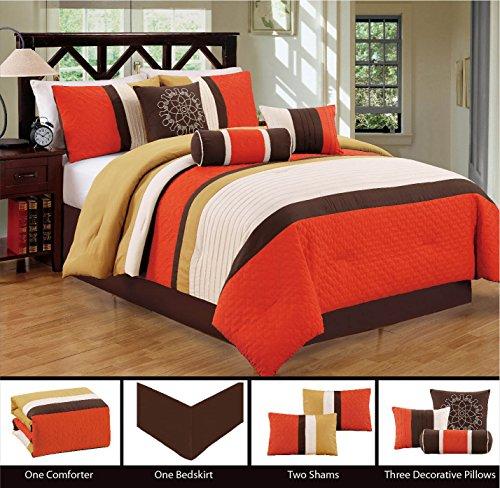 Boys Brown And Orange Bedding: Modern 7 Piece Bedding Orange / Brown / White Pin Tuck