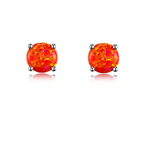 12129442b >INFORMATION:The 4 prongs setting stud earrings is brass with 18K real  white gold plated,the primary stone is created orange fire opal,which will  be very ...