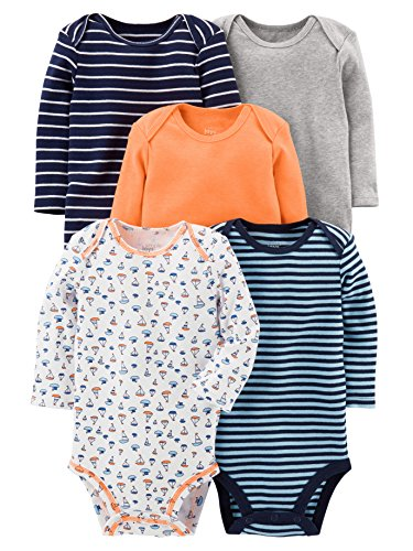 Simple Joys By Carter S Baby Boys 5 Pack Long Sleeve