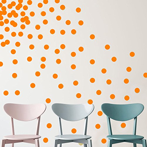 YINGKAI Set of 80pcs 2″ Removable Orange Vinyl Polka Dot Wall Decor